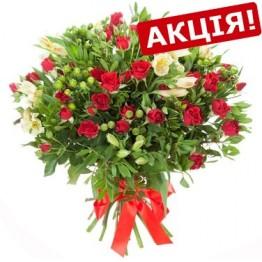 Букет з альстромерій та троянд