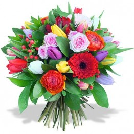 Букет з тюльпанів і 3х сортів квітів
