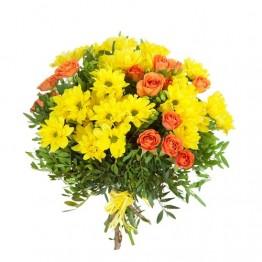 Букет з хризантем та троянд і зелені