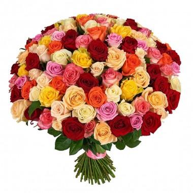 Букет 101 різнокольорова троянда 60-70 см з доставкою