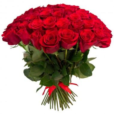 Букет 75 різнокольорових троянд 50 см з доставкою
